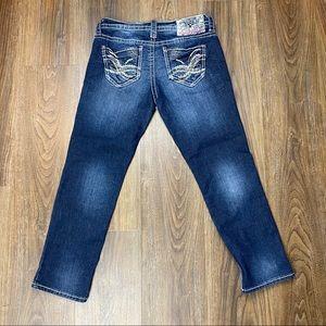 Wallflower Jeans Bailey Dark Wash Cropped Sz 3/4
